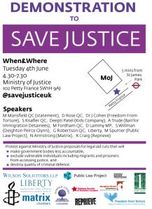 Save Justice UK Demonstration Flyer
